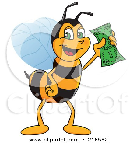Royalty-Free (RF) Clipart Illustration of a Worker Bee Character Mascot Holding Cash by Toons4Biz