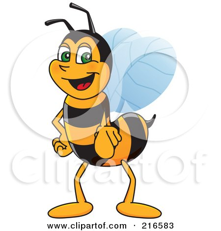 Royalty-Free (RF) Clipart Illustration of a Worker Bee Character Mascot Pointing Outwards by Toons4Biz