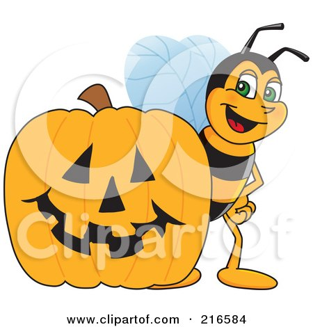 Royalty-Free (RF) Clipart Illustration of a Worker Bee Character Mascot By A Halloween Pumpkin by Toons4Biz