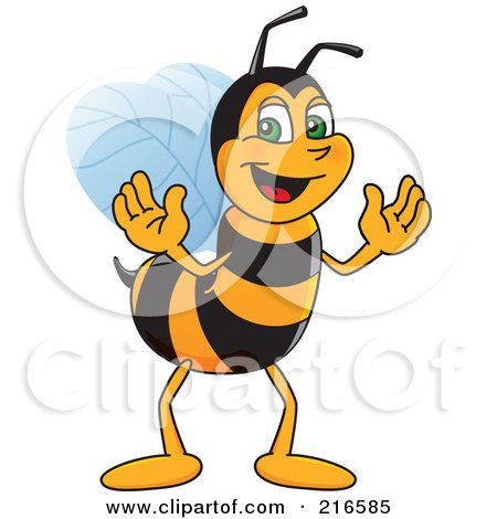 Royalty-Free (RF) Clipart Illustration of a Worker Bee Character Mascot by Toons4Biz