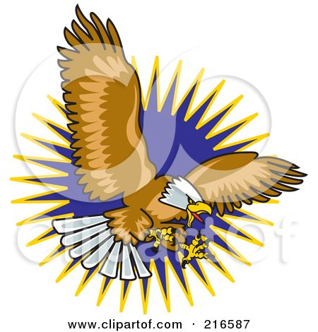 Royalty-Free (RF) Clipart Illustration of a Flying Bald Eagle With His Claws Out To Catch Prey by Andy Nortnik