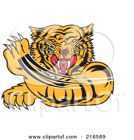 Royalty-Free (RF) Clipart Illustration of an Attacking Tiger Swiping His Paw by Andy Nortnik