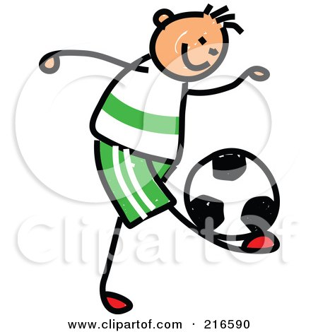 Royalty-Free (RF) Clipart Illustration of a Childs Sketch Of A Boy Playing Soccer - 1 by Prawny