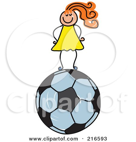 Royalty-Free (RF) Clipart Illustration of a Childs Sketch Of A Girl Standing On A Soccer Ball by Prawny
