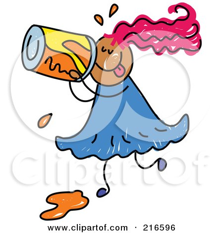 Royalty-Free (RF) Clipart Illustration of a Childs Sketch Of A Girl Drinking Soda by Prawny