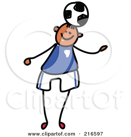 Royalty-Free (RF) Clipart Illustration of a Childs Sketch Of A Boy Playing Soccer - 4 by Prawny