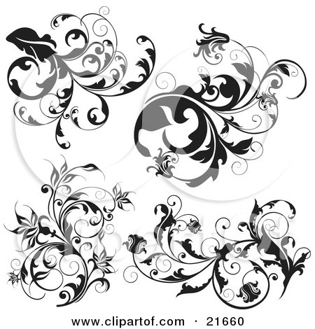 Clipart Picture Illustration of a Collection Of Black And White Scrolling Branches With Leaves And Flowers by OnFocusMedia