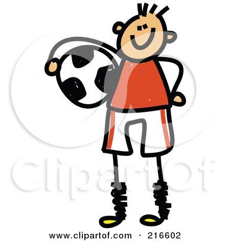 Royalty-Free (RF) Clipart Illustration of a Childs Sketch Of A Soccer Boy - 2 by Prawny