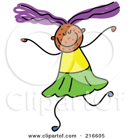 Royalty-Free (RF) Clipart Illustration of a Childs Sketch Of A Girl With Spots On Her Face by Prawny
