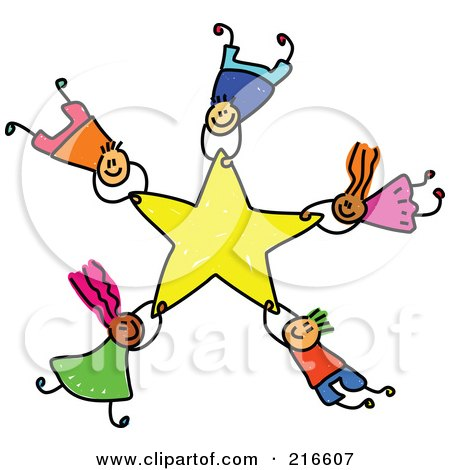 Royalty-Free (RF) Clipart Illustration of a Childs Sketch Of A Group Of Kids Falling With A Star by Prawny