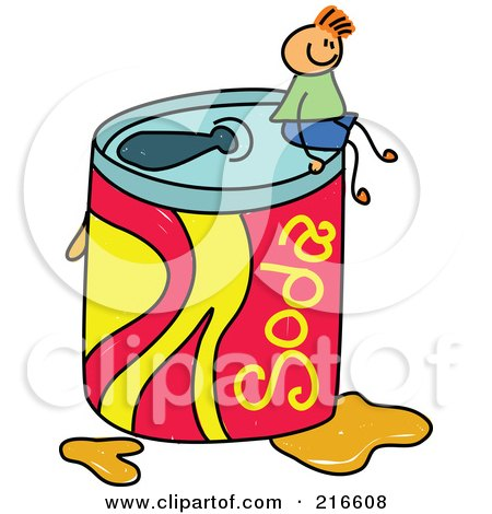 Royalty-Free (RF) Clipart Illustration of a Childs Sketch Of A Boy Sitting On A Giant Soda Can by Prawny