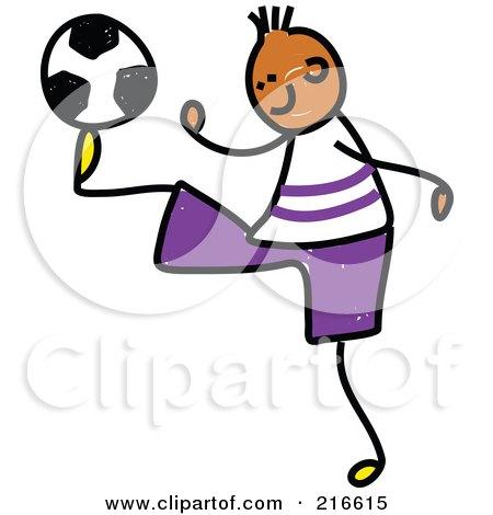 Royalty-Free (RF) Clipart Illustration of a Childs Sketch Of A Soccer Boy - 3 by Prawny