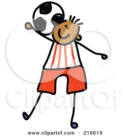 Royalty-Free (RF) Clipart Illustration of a Childs Sketch Of A Boy Playing Soccer - 3 by Prawny