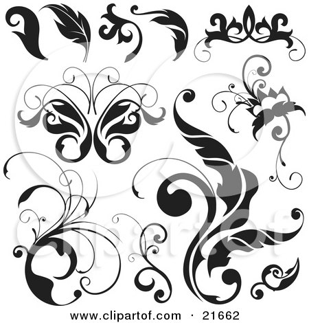 Clipart Picture Illustration of a Collection Of Black And White Leaves, Flourishes, And Butterflies Over White by OnFocusMedia