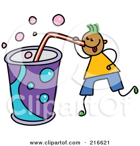 Royalty-Free (RF) Clipart Illustration of a Childs Sketch Of A Boy Drinking A Huge Soda by Prawny