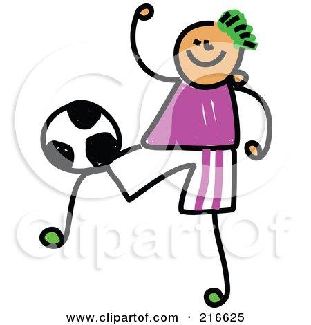 Royalty-Free (RF) Clipart Illustration of a Childs Sketch Of A Soccer Boy - 4 by Prawny