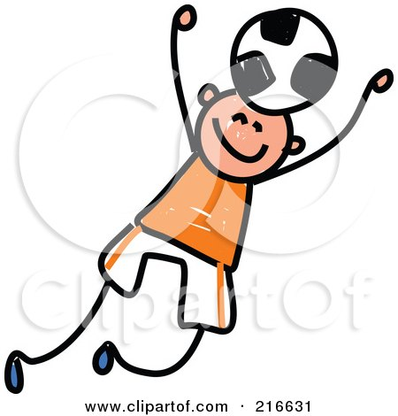 Royalty-Free (RF) Clipart Illustration of a Childs Sketch Of A Boy Playing Soccer - 2 by Prawny