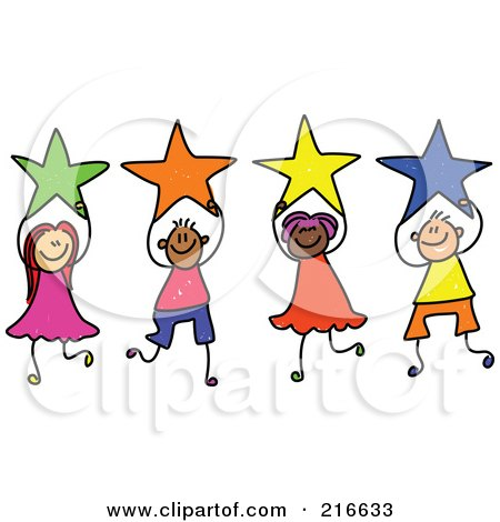 Royalty-Free (RF) Clipart Illustration of a Childs Sketch Of A Group Of Kids Holding Stars - 1 by Prawny