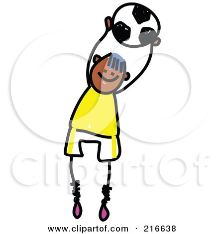 Royalty-Free (RF) Clipart Illustration of a Childs Sketch Of A Soccer Boy - 1 by Prawny