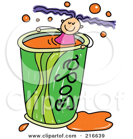 Royalty-Free (RF) Clipart Illustration of a Childs Sketch Of A Girl Swimming In A Soda Cup by Prawny