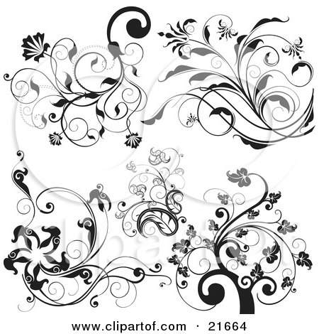 Clipart Picture Illustration of a Collection Of Black And White Trees And Elegant Vined Flowers Over White by OnFocusMedia