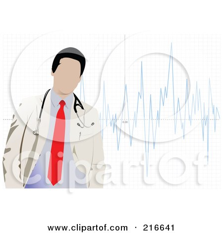 Royalty-Free (RF) Clipart Illustration of a Faceless Doctor Standing Over A Graph by leonid