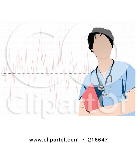 Royalty-Free (RF) Clipart Illustration of a Faceless Doctor In Blue Scrubs, Standing Over A Graph by leonid