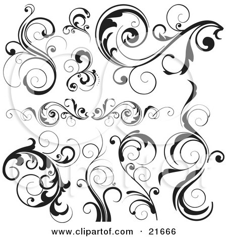 Clipart Picture Illustration of a Collection Of Plants With Scrolling Vines And Leaves, In Black And White by OnFocusMedia