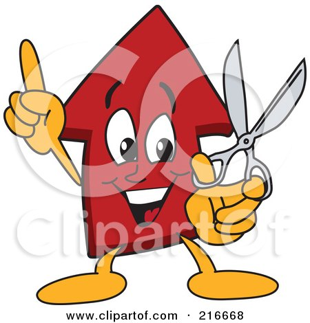 Royalty-Free (RF) Clipart Illustration of a Red Up Arrow Character Mascot Holding Scissors by Toons4Biz