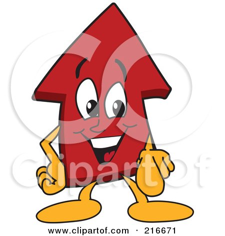 Royalty-Free (RF) Clipart Illustration of a Red Up Arrow Character Mascot Pointing Outwards by Toons4Biz