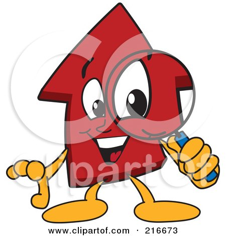 Royalty-Free (RF) Clipart Illustration of a Red Up Arrow Character Mascot Using A Magnifying Glass by Toons4Biz