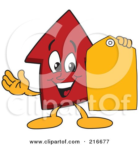 Royalty-Free (RF) Clipart Illustration of a Red Up Arrow Character Mascot Holding A Yellow Tag by Toons4Biz