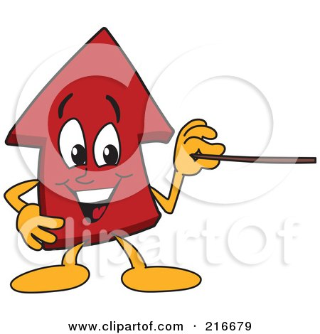 Royalty-Free (RF) Clipart Illustration of a Red Up Arrow Character Mascot Holding A Pointer Stick by Toons4Biz