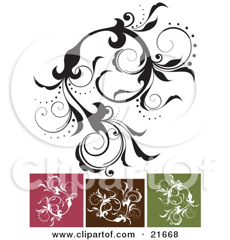 Intricate Vine With Beautiful Leaves And Flowers In Black And White, With Pink, Brown And Green Versions Posters, Art Prints