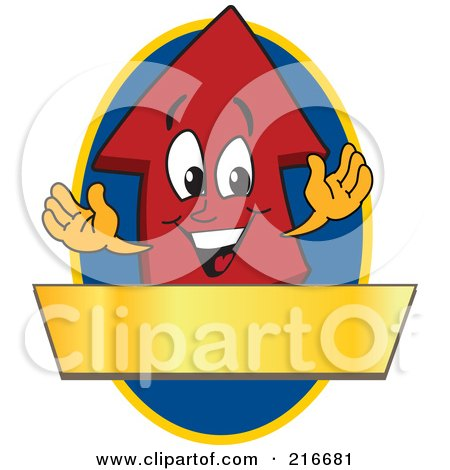 Royalty-Free (RF) Clipart Illustration of a Red Up Arrow Character Logo Mascot Above A Blank Gold Banner On A Blue Oval by Toons4Biz