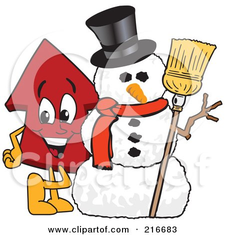 Royalty-Free (RF) Clipart Illustration of a Red Up Arrow Character Mascot By A Snowman by Toons4Biz