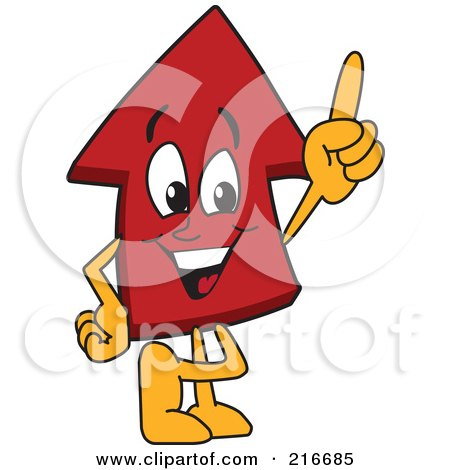 Royalty-Free (RF) Clipart Illustration of a Red Up Arrow Character Mascot Pointing Up by Toons4Biz
