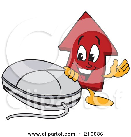 Royalty-Free (RF) Clipart Illustration of a Red Up Arrow Character Mascot By A Computer Mouse by Toons4Biz