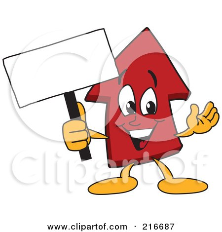Royalty-Free (RF) Clipart Illustration of a Red Up Arrow Character Mascot Holding A Small Blank Sign by Toons4Biz