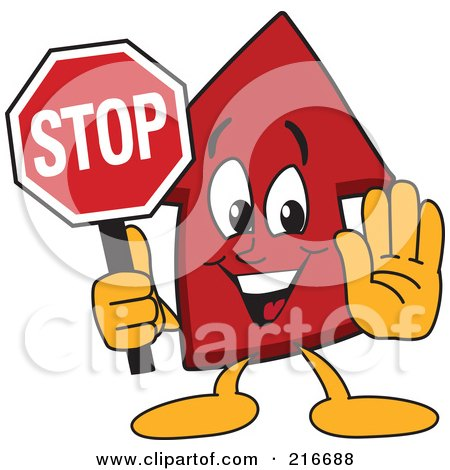Royalty-Free (RF) Clipart Illustration of a Red Up Arrow Character Mascot Holding A Stop Sign by Toons4Biz