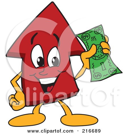 Royalty-Free (RF) Clipart Illustration of a Red Up Arrow Character Mascot Holding Cash by Toons4Biz