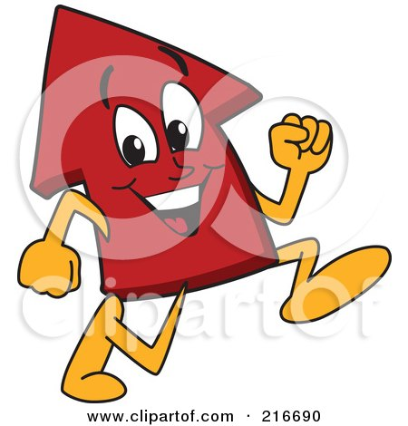 Royalty-Free (RF) Clipart Illustration of a Red Up Arrow Character Mascot Running by Toons4Biz