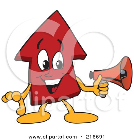 Royalty-Free (RF) Clipart Illustration of a Red Up Arrow Character Mascot Holding A Megaphone by Toons4Biz