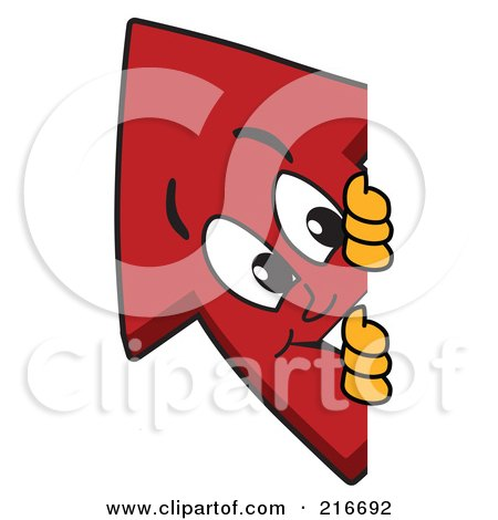 Royalty-Free (RF) Clipart Illustration of a Red Up Arrow Character Mascot Looking Around A Blank Sign Board by Toons4Biz