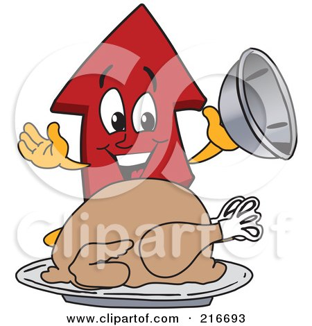 Royalty-Free (RF) Clipart Illustration of a Red Up Arrow Character Mascot Serving A Thanksgiving Turkey by Toons4Biz