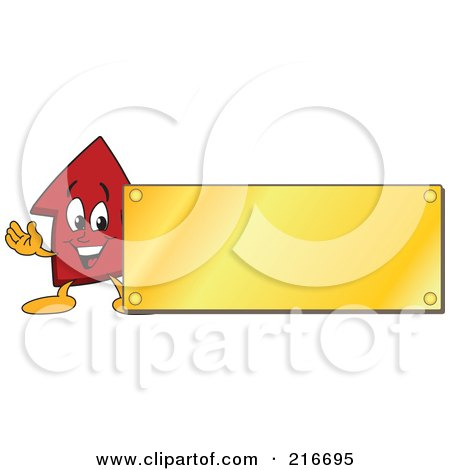 Royalty-Free (RF) Clipart Illustration of a Red Up Arrow Character Mascot With A Blank Gold Plaque Sign Or Logo by Toons4Biz