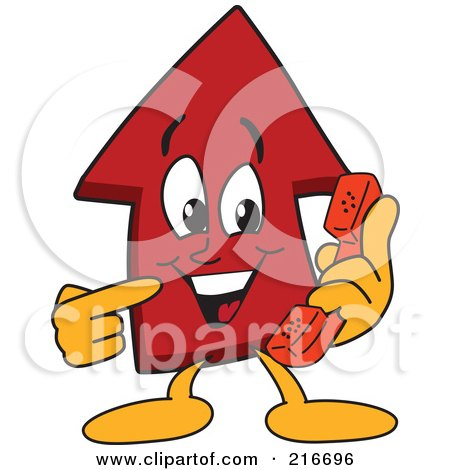 Royalty-Free (RF) Clipart Illustration of a Red Up Arrow Character Mascot Using A Phone by Toons4Biz