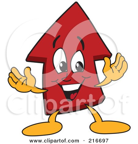 Royalty-Free (RF) Clipart Illustration of a Red Up Arrow Character Mascot by Toons4Biz