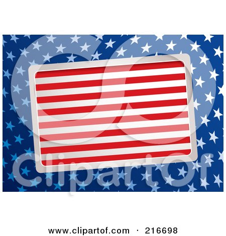Royalty-Free (RF) Clipart Illustration of a Slanted Plaque Of Red And White Stripes Over Blue With White American Stars by michaeltravers