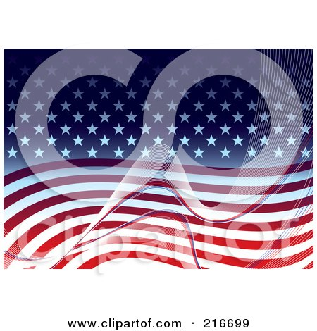 Royalty-Free (RF) Clipart Illustration of an American Background Of White Mesh Waves Over Stars And Stripes by michaeltravers
